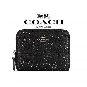 Coach Boxed Black Star Glitter Zip Around Wallet